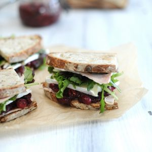Spiced cranberry and turkey sandwich on seeded sourdough