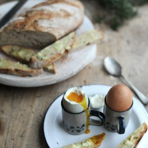 Soft-boiled eggs with sourdough soldiers