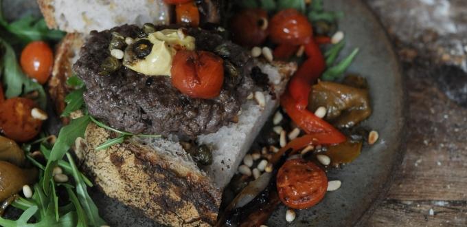 Sourdough Tartine Beef Patties with Roasted Peppers & Artichoke
