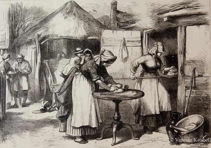 Kneading bread 1872, Wiltshire