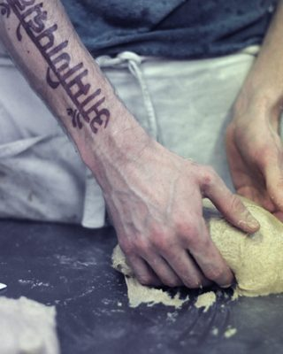 E5 founder Ben Mackinnon shaping dough