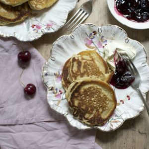 Sourdough Pancakes with cherry compote