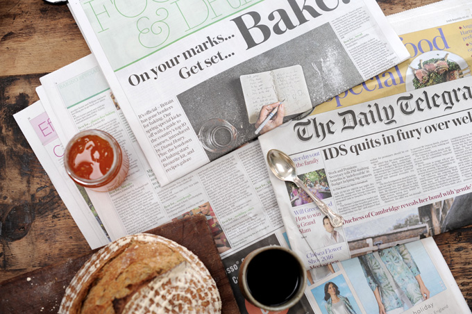 sourdough and coffee on The Telegraph newspaper