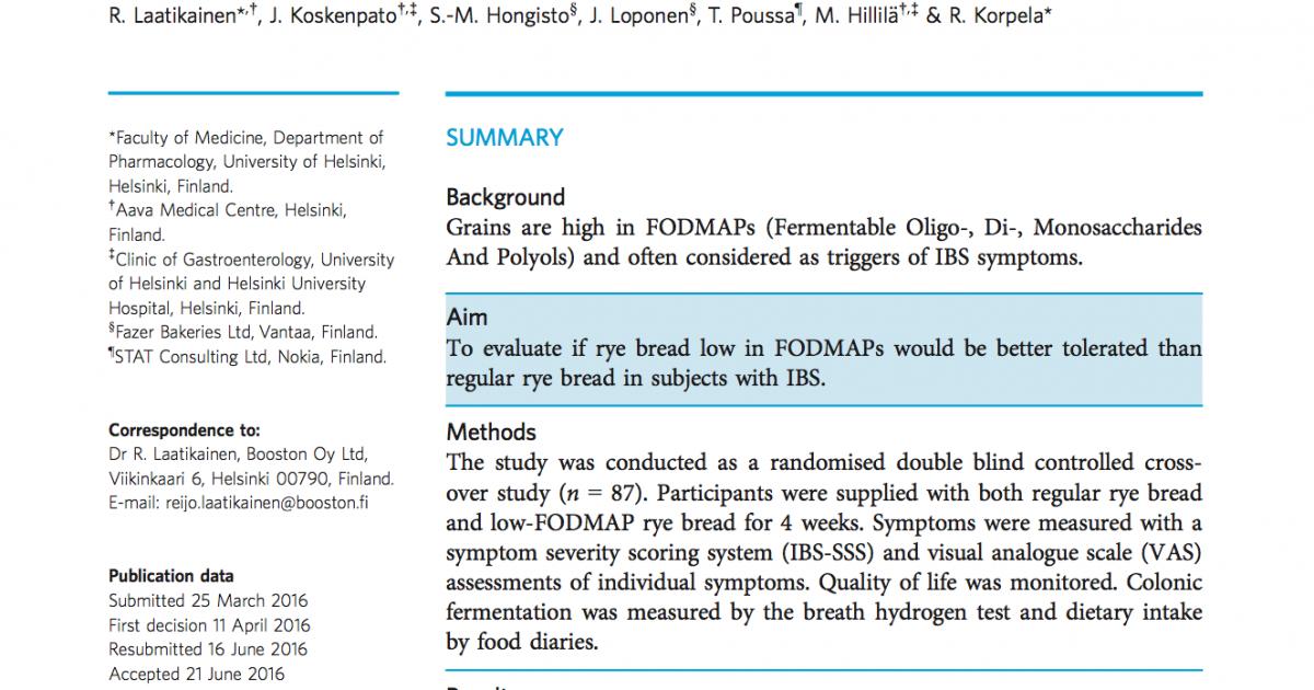 Sourdough bread and low FODMAPS