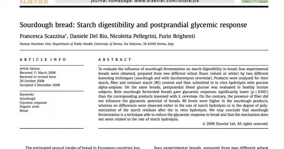 Sourdough and postprandial glycemic response