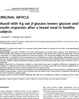 oats beta glucans reduces glucose and insulin levels
