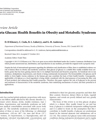 Beta glucans and obesity