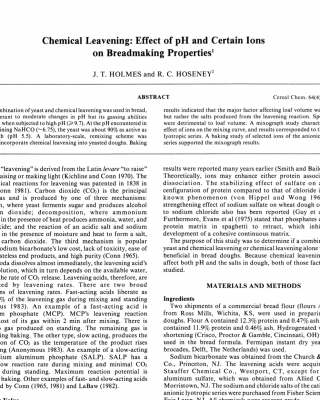 Effect of pH and salts on bread making properties