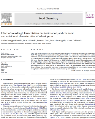 sourdough fermentation on stabilisation, and chemical and nutritional characteristics of wheat germ