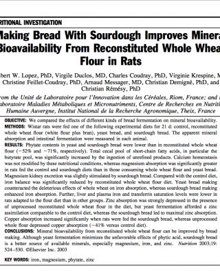 Sourdough and mineral bioavalability in wheat
