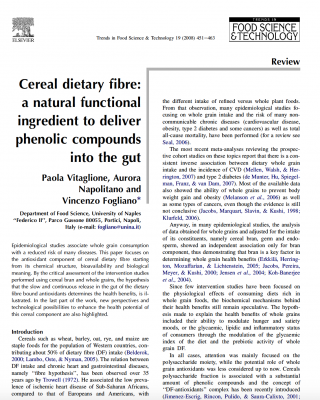 Dietary fibre and polyphenols in cereal grains