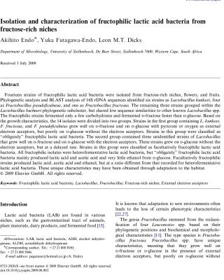fructophilic lactic acid bacteria