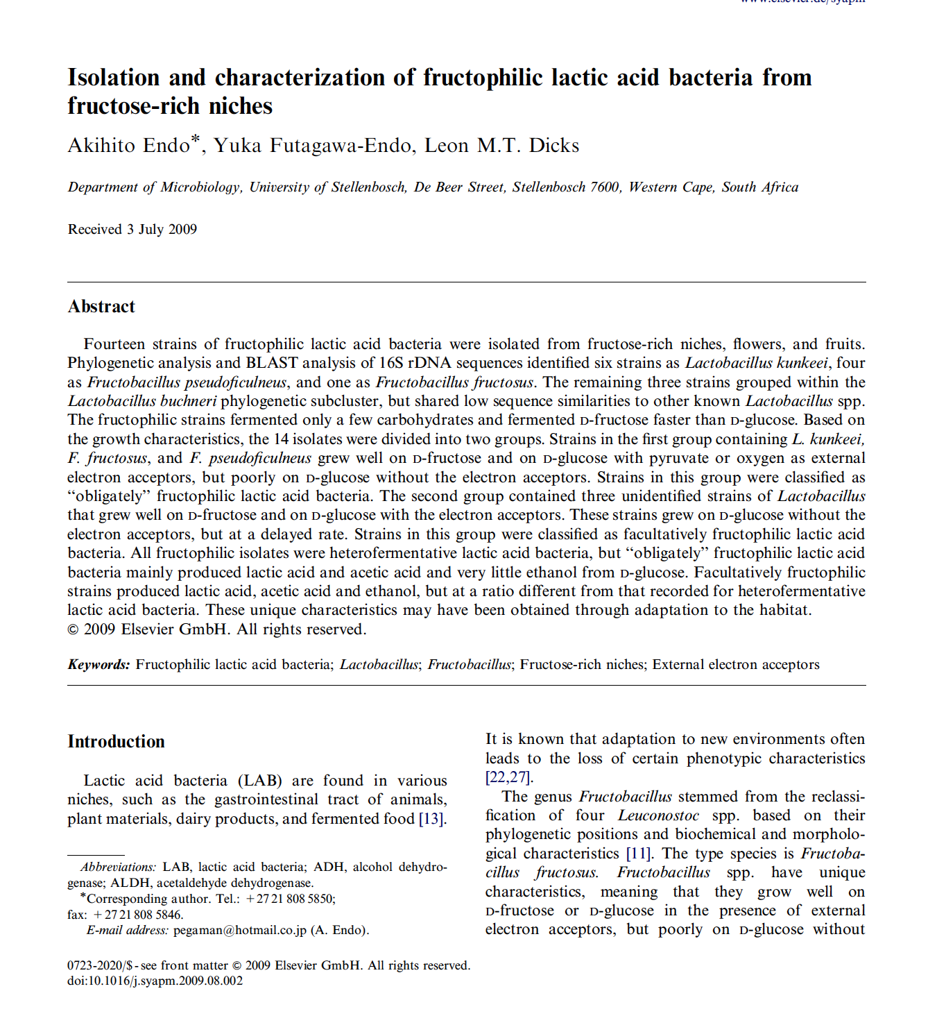 Isolation and characterization of fructophilic lactic acid