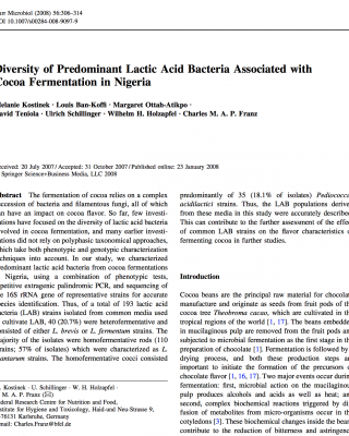 Lactic Acid Bacteria Associated with Cocoa Fermentation