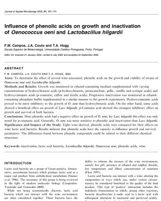 phenolic acids and lactobacilli