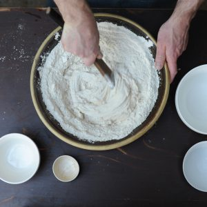 Mixing a sweet dough by hand