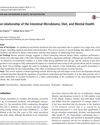 Inter-relationship of the Intestinal Microbiome, Diet, and Mental Health