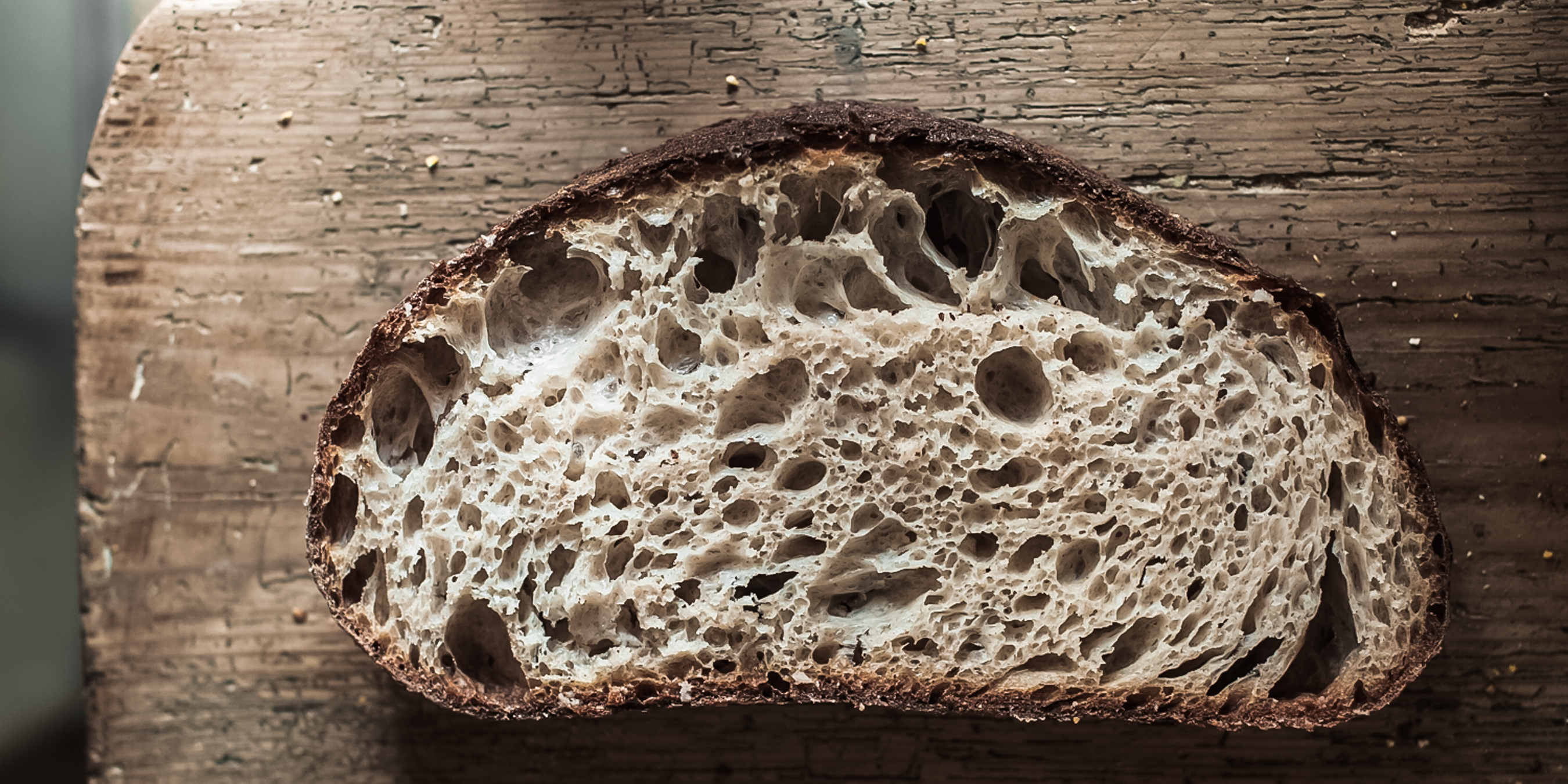 a slice of sourdough showing the nutrition via the crumb stucture