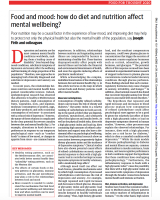 Food and mood: how do diet and nutrition affect mental wellbeing?