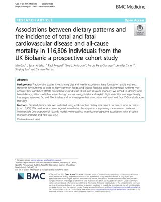 Diet patterns and health span